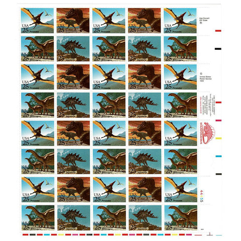 1989 25c Scott #2422-2425 Prehistoric Animals Sheet (40) - MNH