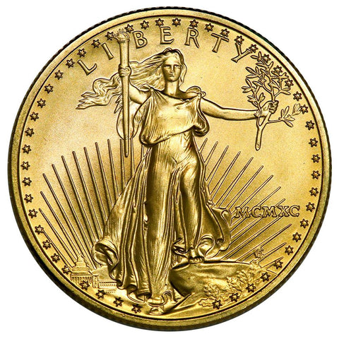 1990 $25 1/2 Oz Half Ounce Gold Eagle - Gem Uncirculated - Scarce
