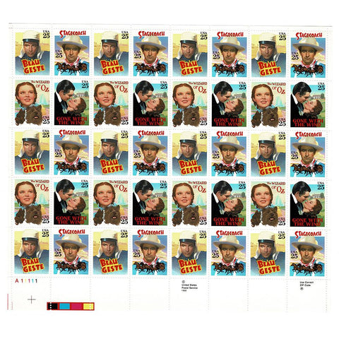 1990 25c Scott #2445-2448 Classic Films Sheet (40) - MNH