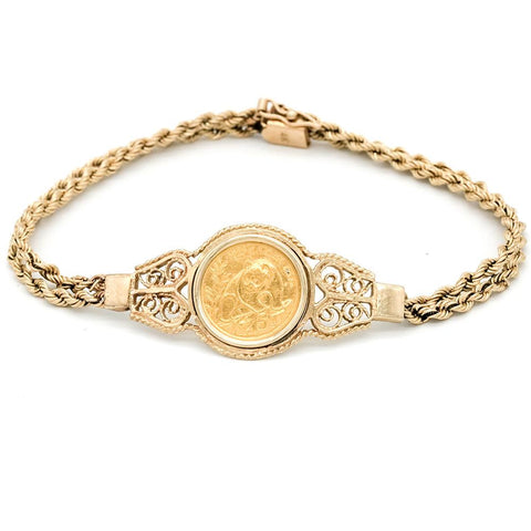 1990 China 5 Yuan 1/20 oz Gold Panda KM.268 in 14k Gold Bracelet - 7 1/4""