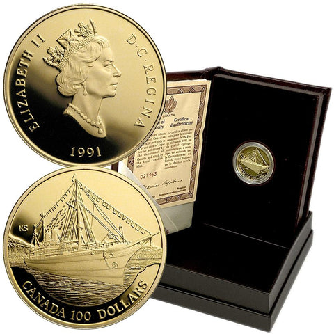 1991 Canada Proof $100 1/4 oz Gold Coin Empress of India - Gem Proof in OGP