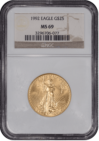 1992 $25 American Gold Eagle (Tougher Year) - 1/2 oz Net Pure Gold - NGC MS 69