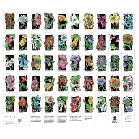 1992 29c Scott #2647-2696 Wildflowers Sheet (50) - MNH