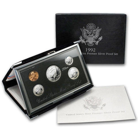1992 to 1998 Silver Premier Proof Sets - Gem Proof in OGP
