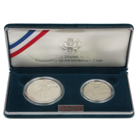 1992 Columbus Quincentenary 2-Coin Proof Set - Gem Proof in OGP w/ COA