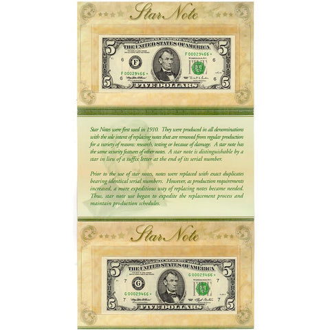 Pair of 1993 & 1995 $5 Federal Reserve Star Notes With Matching Serials - Gem Uncirculated