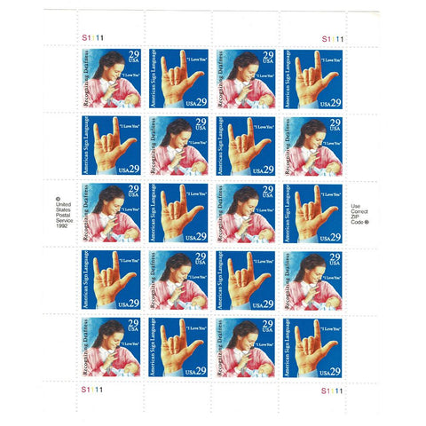 1993 29c Scott #2783-2784 American Sign Language Sheet (20) - MNH
