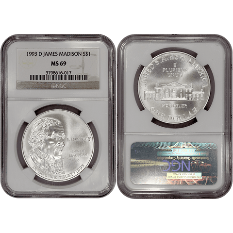 1993-D James Madison/Bill of Rights Commemorative Silver Dollar - NGC MS 69