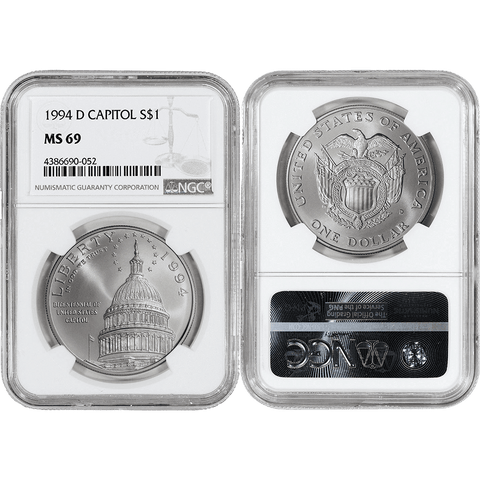 1994-D Capitol Commemorative Silver Dollar - NGC MS 69