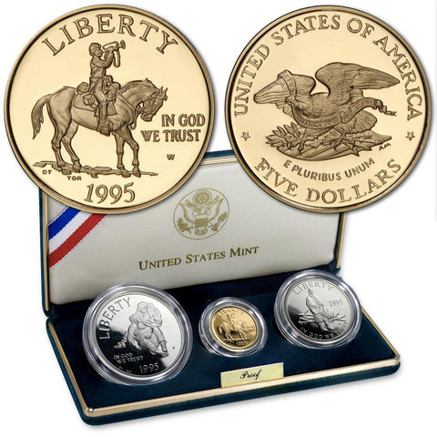 1995 3-Coin Civil War Proof Commemorative Set ($5 Gold, $1 Silver, 50¢ Clad Half) in OGP