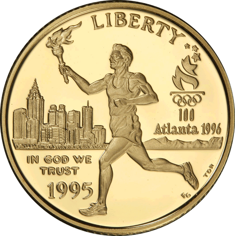 1995-W Olympic Torch Runner $5 Commemorative Gold ~ Superb Gem Proof