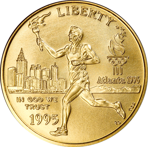 1995-W Olympic Torch Runner $5 Commemorative Gold ~ PQ Brilliant Uncirculated