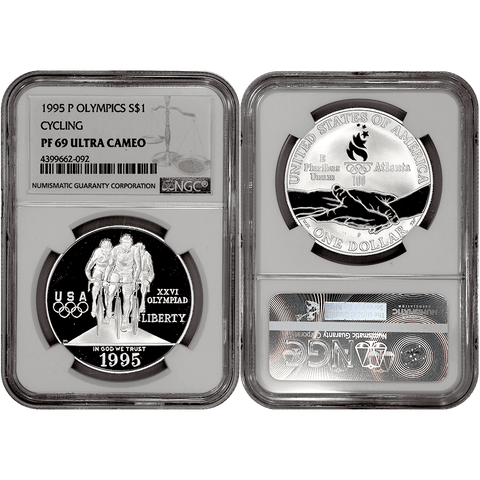 1995-P Olympic Cycling Commemorative Silver Dollar - NGC PF 69 Ultra Cameo