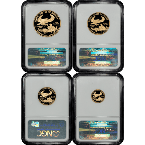 4-Coin 1995-W Proof American Gold Eagle Set (1.85 TOZ) in NGC PF 69 Ultra Cameo