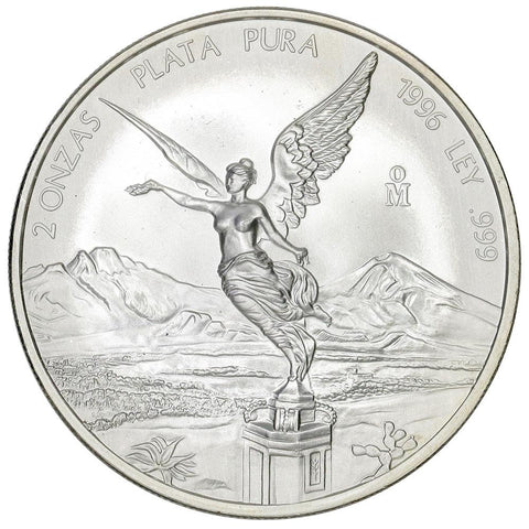 "1996 Mexico 2 Onza ""Libertad"" 2 oz Silver KM.614 - Gem Brilliant Uncirculated"