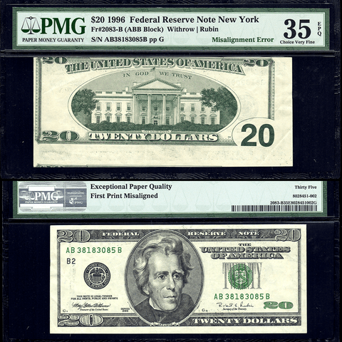 1996 $20 Federal Reserve Note New York District - Misaligned 1st Printing - PMG VF 35
