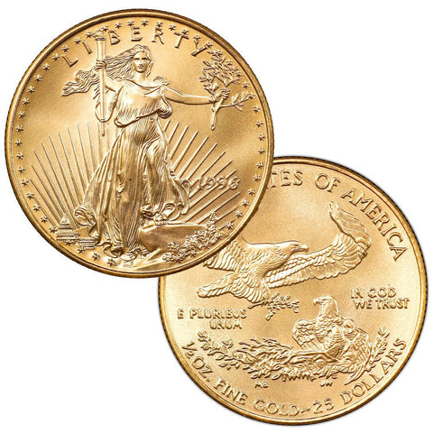 1996 $25 Half 1/2 Ounce American Gold Eagles - Gem Brilliant Uncirculated (3rd Lowest Mintage)