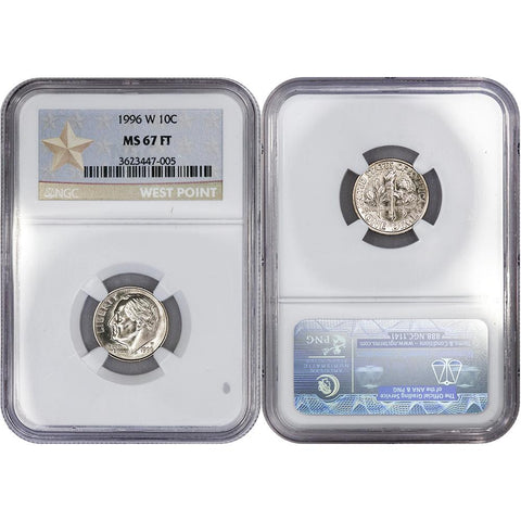 1996-W Roosevelt Dime - NGC MS 67 FB - Superior Gem Uncirculated Full Bands
