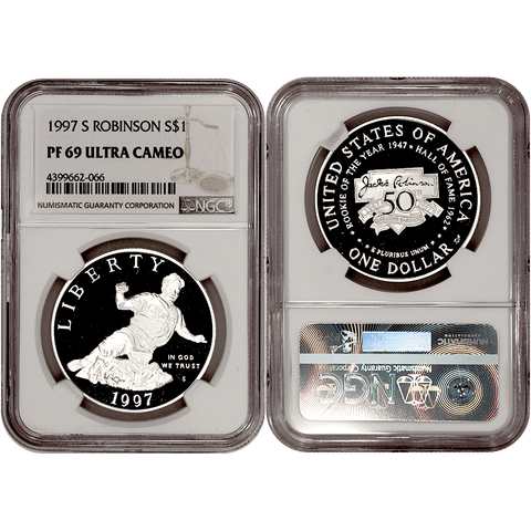 1997-S Jackie Robinson Commemorative Silver Dollar - NGC PF 69 Ultra Cameo
