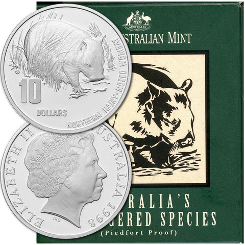 1998 Australia Proof Silver $10 Piedfort Hairy-Nosed Wombat KM. 397 - Gem Proof in OGP
