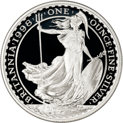 1998 Great Britain 2 Pounds 1 oz Silver Britannia KM.1029 - Gem Proof (No Box/COA) in Capsule