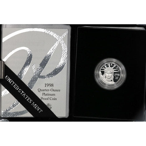 1998-W $25 1/4 oz Proof Platinum American Eagle in OGP with COA