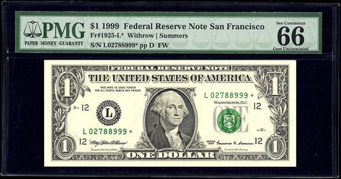 1999 $1 San Francisco Federal Reserve Star Note Fr. 1925-L* - PMG Gem Uncirculated 66 EPQ