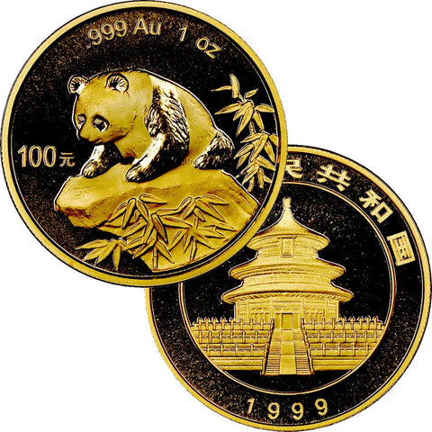 1999 100 Yuan 1 oz Gold Panda - Gem Uncirculated in Mint Plastic