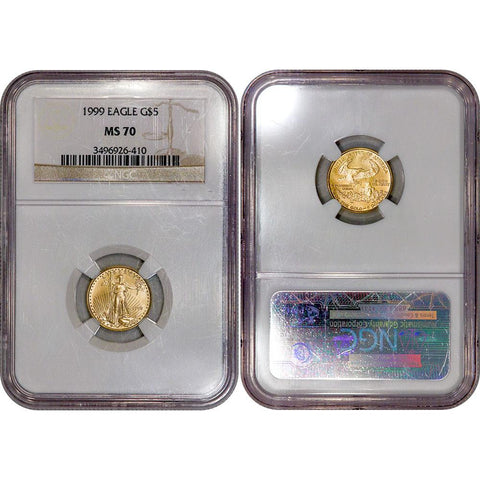 1999 1/10th Tenth Ounce Gold Eagle - NGC MS 70