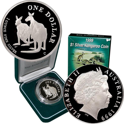 1999 Australia Kangaroo Proof 1 oz Silver KM. 398 - Gem Proof in OGP