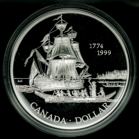 1999 Canada Silver Discovery of Queen Charlotte Isle Dollar KM.356 - Gem Proof in OGP