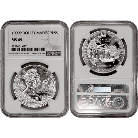 1999-P Dolley Madison Commemorative Silver Dollar - NGC MS 69