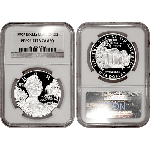 1999-P Dolley Madison Commemorative Silver Dollar - NGC PF 69 Ultra Cameo
