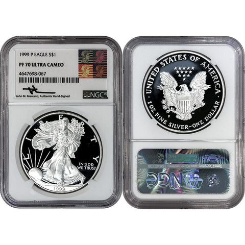 1999-P Proof American Silver Eagle - NGC PF 70 UCAM Mercanti Signature