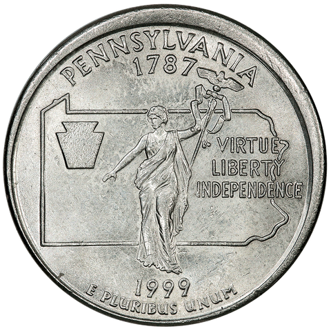 1999-D Pennsylvania 25¢ ~ Broadstruck/Partial Collar ~ Brilliant Uncirculated