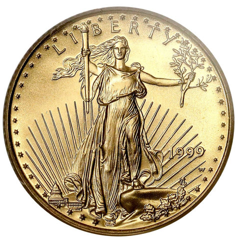 1999-W $10 1/4oz American Gold Eagle Error - Struck With Proof Dies - PCGS MS 68
