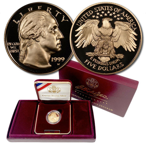 1999-W Proof Washington Bicentennial $5 Gold - Gem Proof in OGP w/ COA