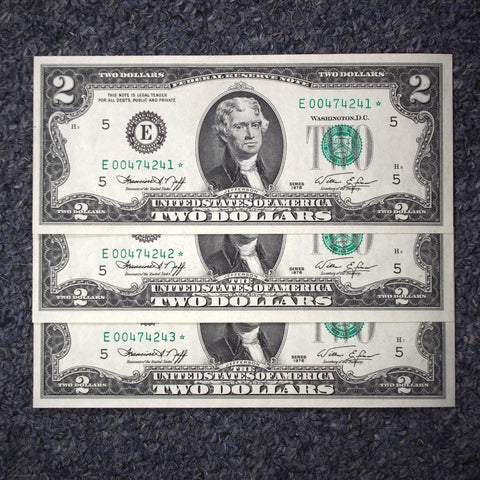 3 Consecutive 1976 Federal Reserve Richmond Star Notes - Uncirculated