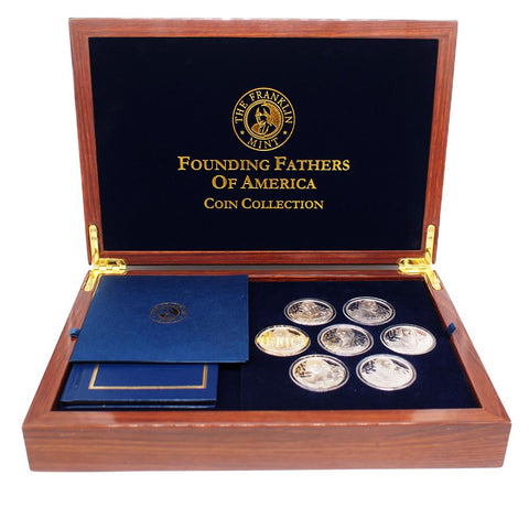 Founding Fathers of America Silver Coin Collection - w/ Deluxe Franklin Mint Display Case