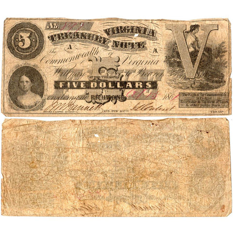 1861 $5 Virginia Treasury Note Cr.5 - Very Good