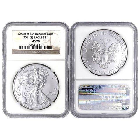 "2011(S) Silver Eagle Struck at San Francisco Mint""- NGC MS70"