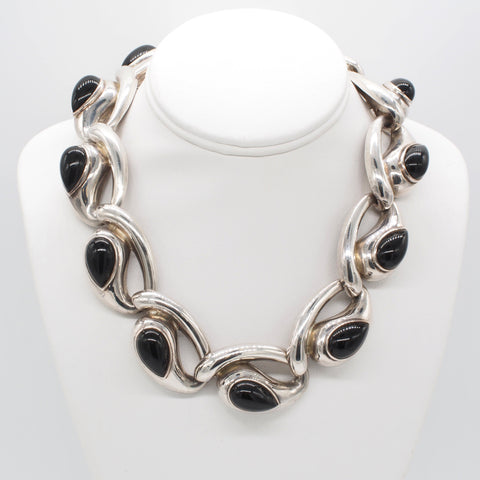 Rare Charles Krypell Sterling Silver Black Onyx Modernist Necklace