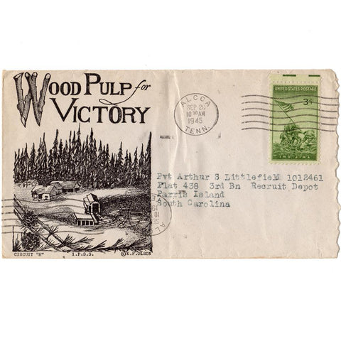 1945 Wood Pulp for Victory Patriotic Cover Scott# 929