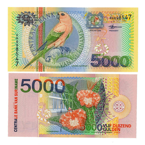 2000 Central Bank of Van Suriname 5000 Gulden P-152 - Unc.