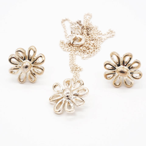 Tiffany & Co. Paloma Picasso Sterling Silver Daisy Flower Earring & Pendant Set