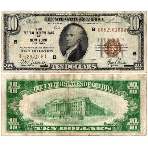 1929 $10 Federal Reserve Bank of New York Note Fr. 1860-B - Very Fine