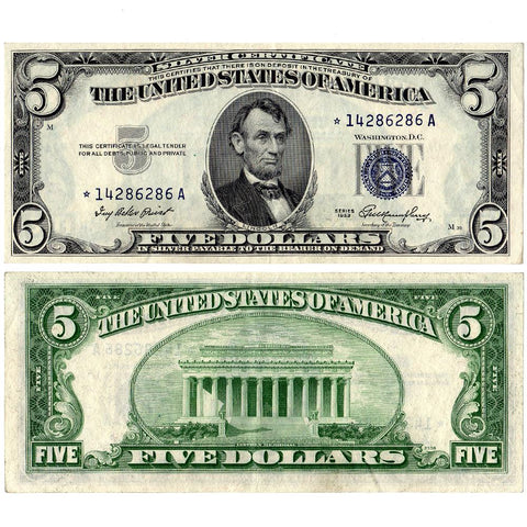 1953 $5 Silver Certificate Star Note Fr. 1655* - About Uncirculated