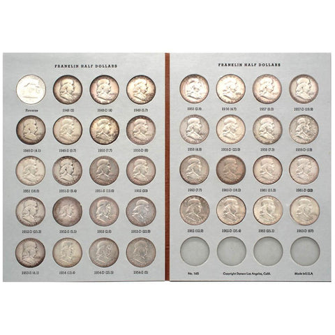 Complete Circulated 1948-1963 P-D-S Franklin Half Dollar Set in Dansco Coin Folder - Fine to AU