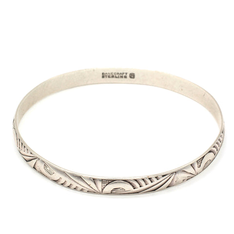 Vintage Danecraft Sterling Silver Art Deco Geometric Bangle Bracelet