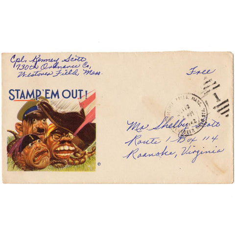 1942 Stamp 'Em Out WW2 Patriotic Cover - Free Military Postage
